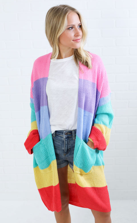 taste the rainbow knit cardigan