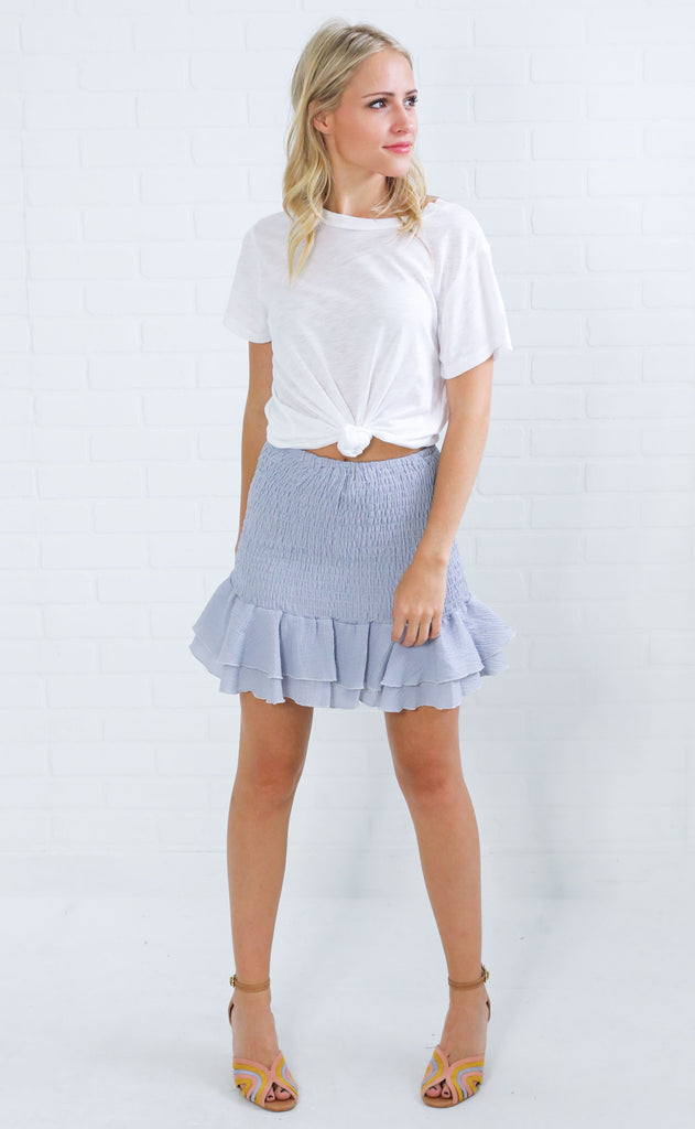 tea and crumpets mini skirt- light blue