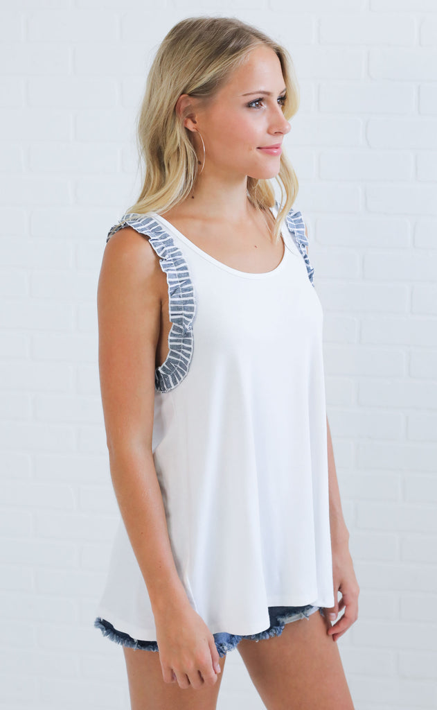 tea for two ruffle tank