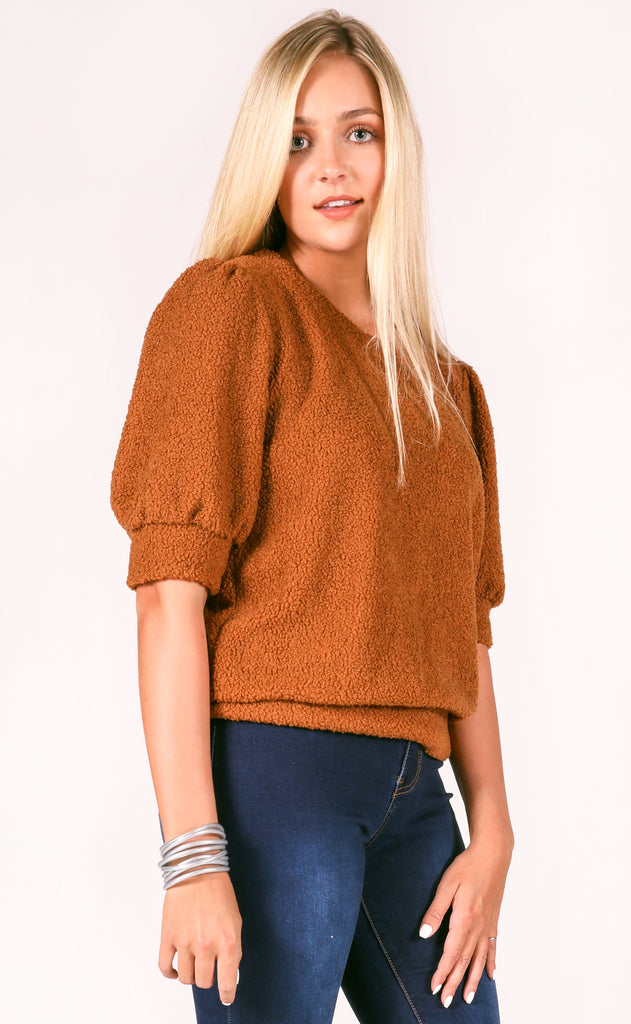 teddy textured top - cognac