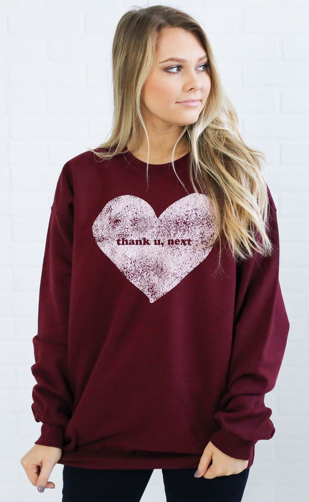friday + saturday: thank u, next sweatshirt