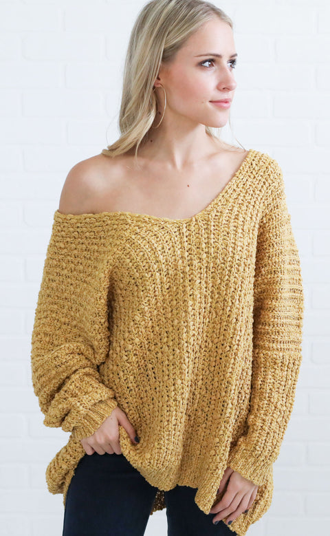 the best knit sweater - mustard