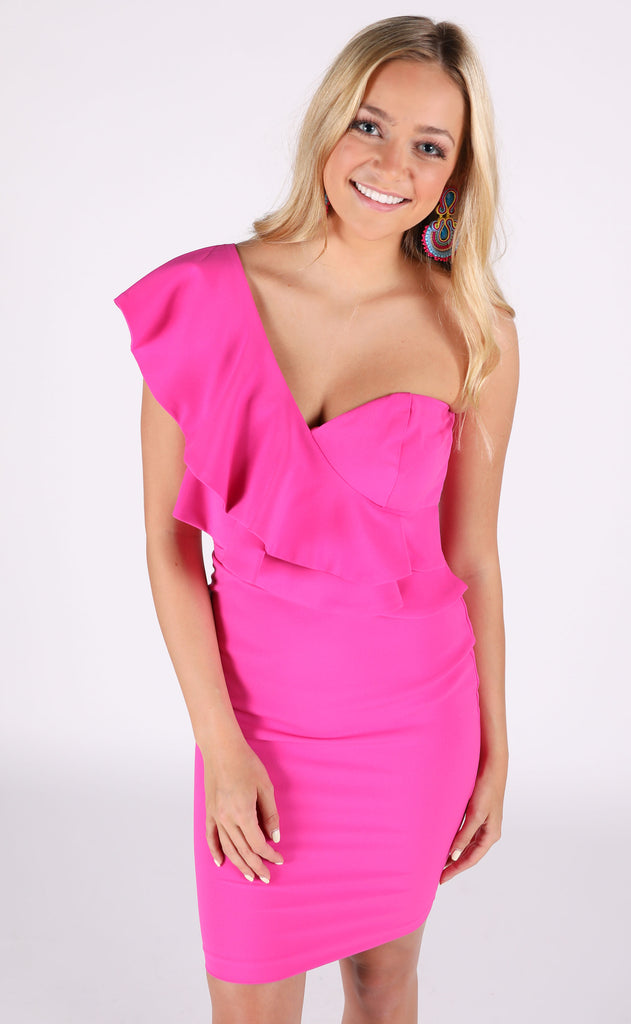 the one ruffle dress - magenta