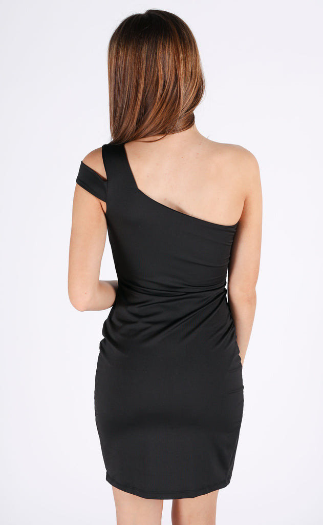 back in black one shoulder dress
