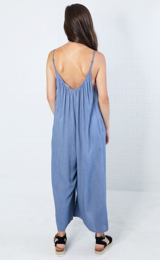 think basic slouchy jumpsuit - blue