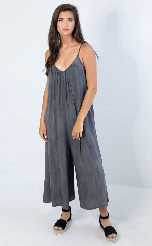 think basic slouchy jumpsuit - grey