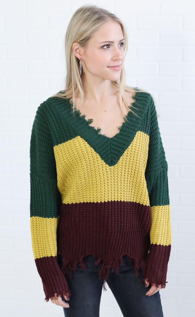 three blocks v-neck sweater