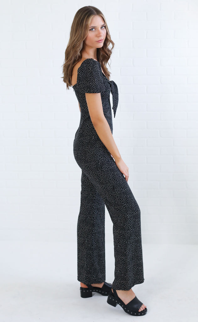 tie me printed jumpsuit - black