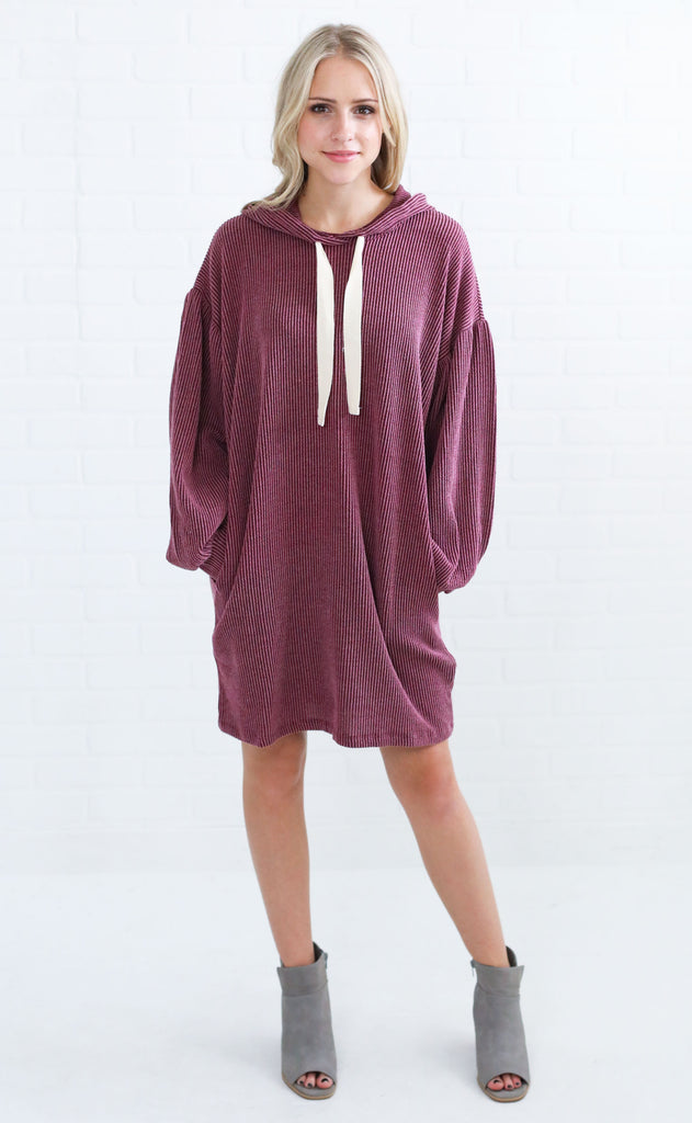 tied together ribbed tunic - maroon
