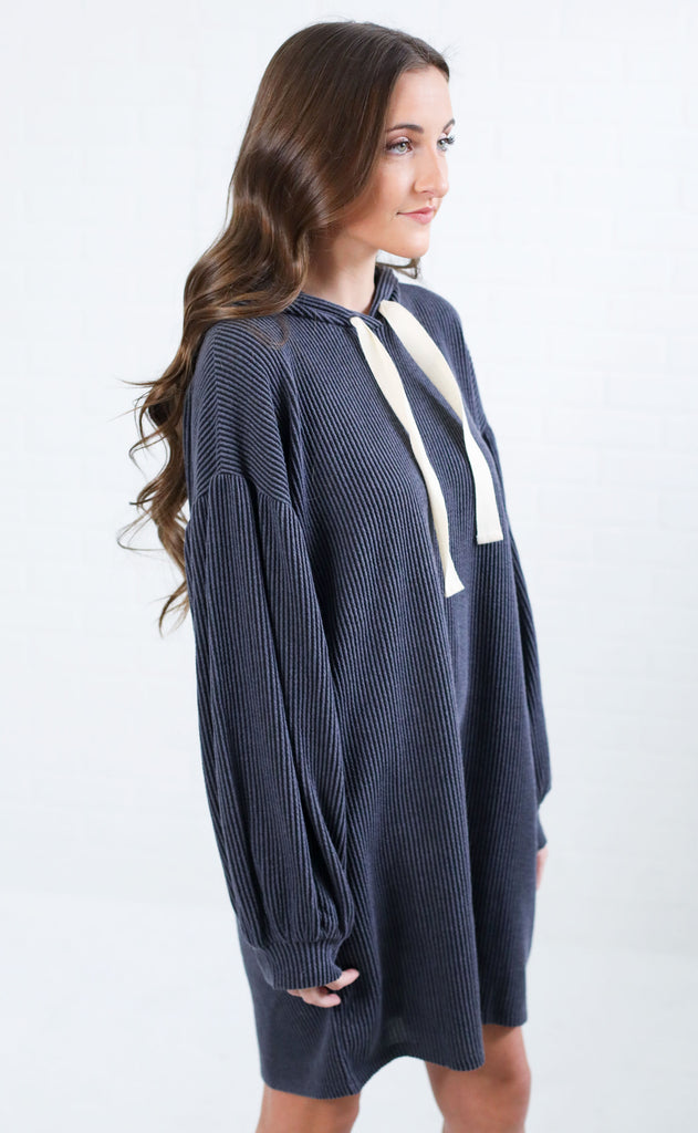 tied together ribbed tunic - navy
