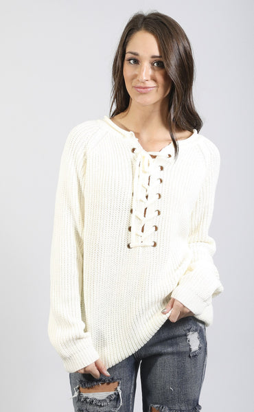 tied up lace up sweater - ivory