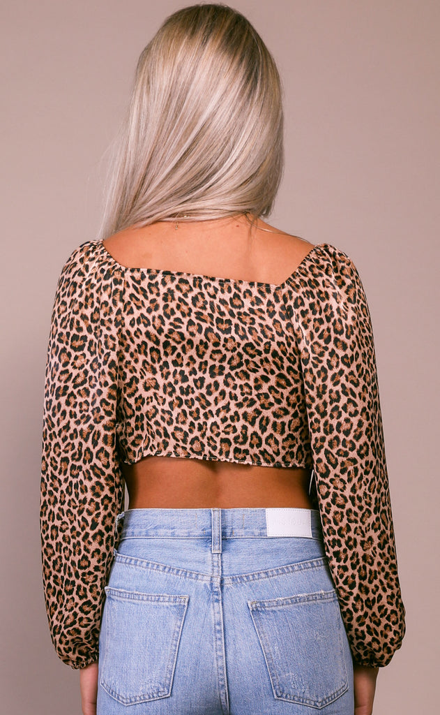 tied up leopard top - stone