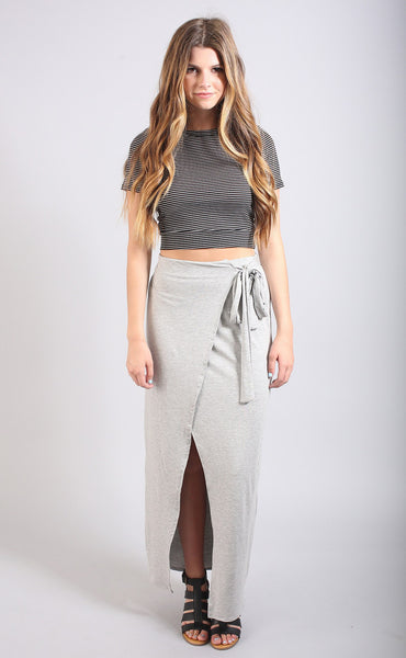 tied and true wrap maxi skirt