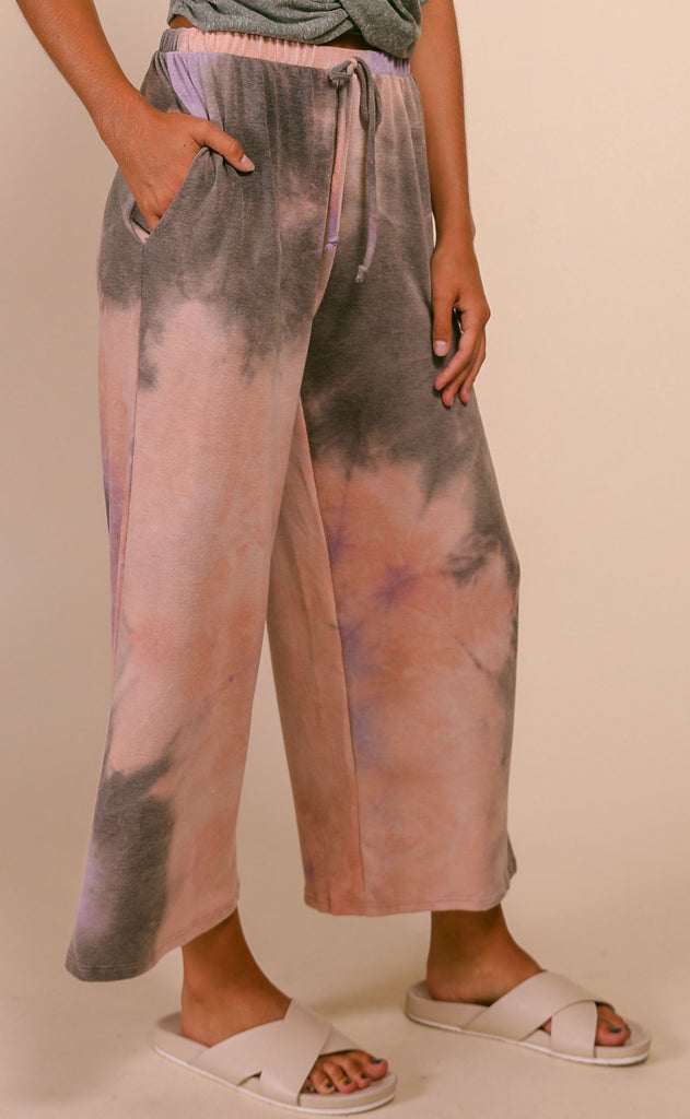 fruity tie dye pants - mauve charcoal
