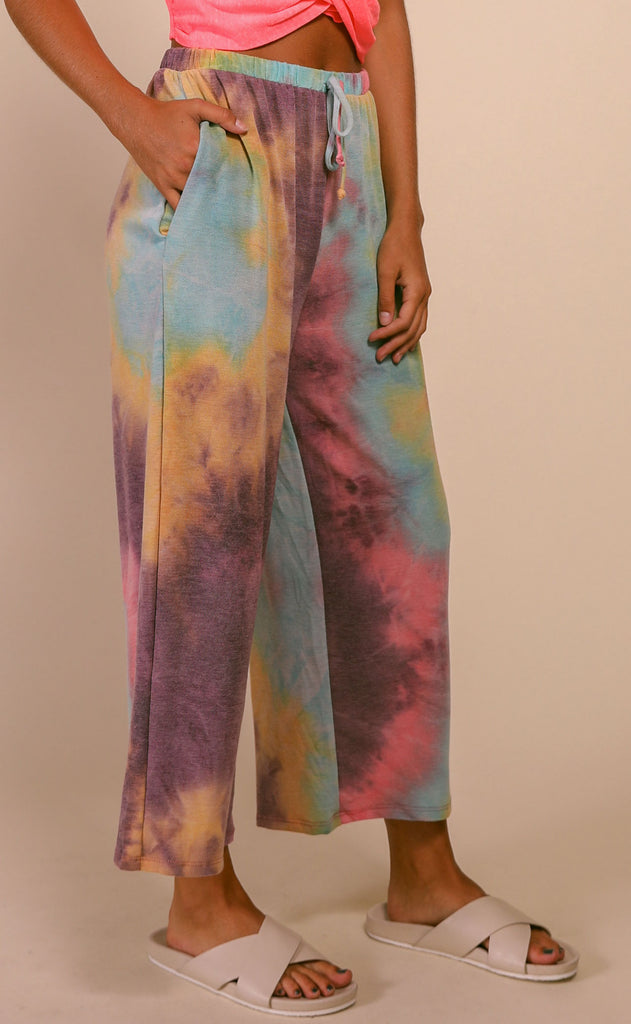 fruity tie dye pants - pink multi