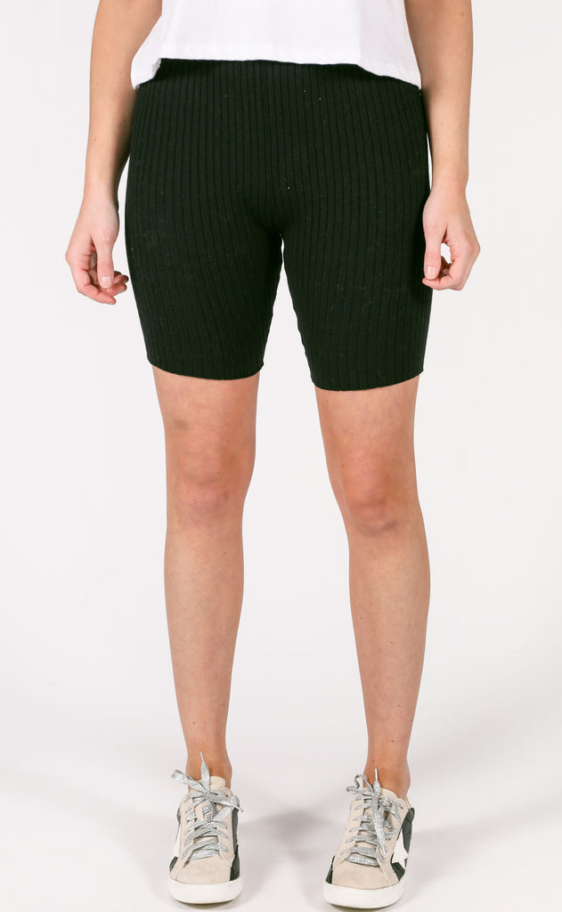 tight race ribbed biker shorts - black