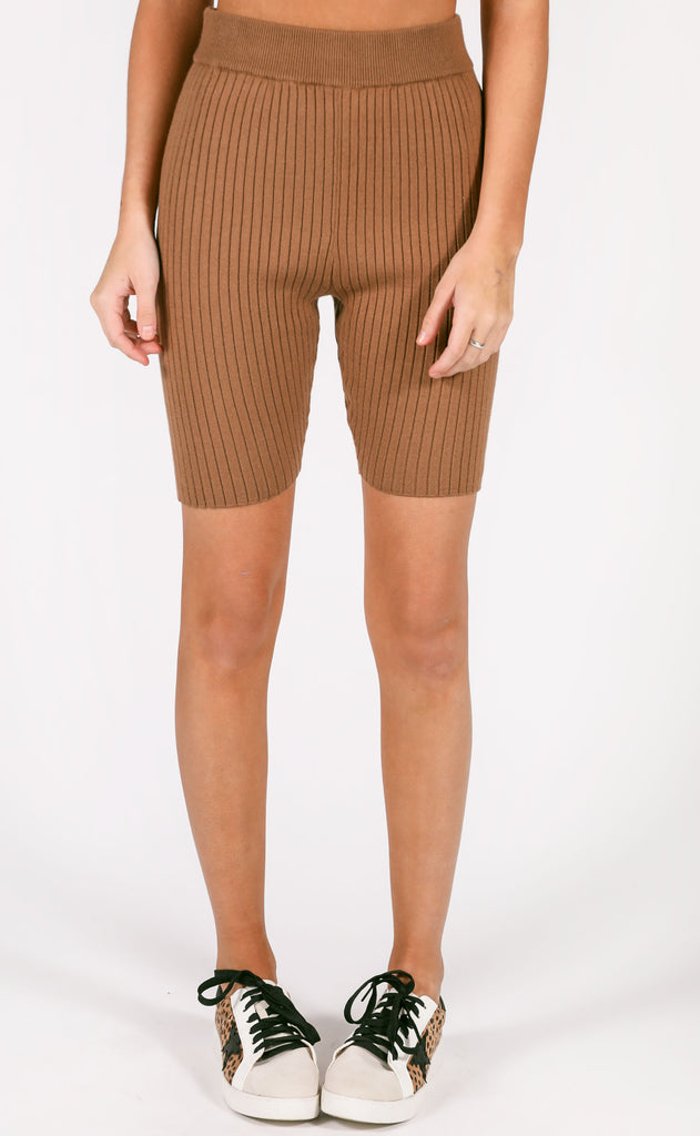tight race ribbed biker shorts - tan