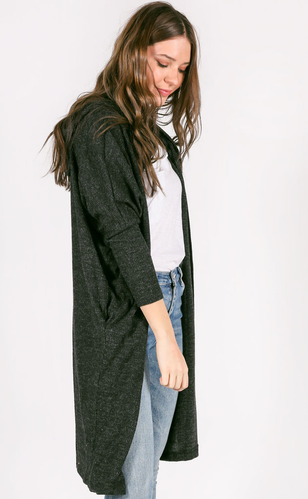 time to relax oversized cardigan - charcoal
