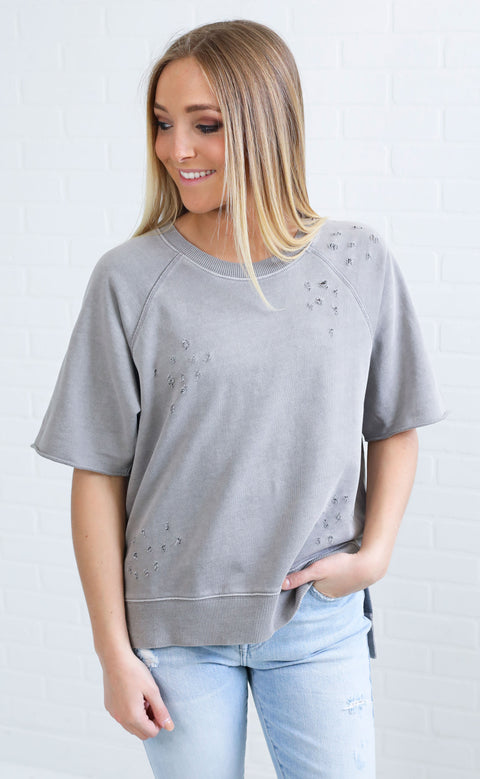 time to relax distressed sweatshirt - grey