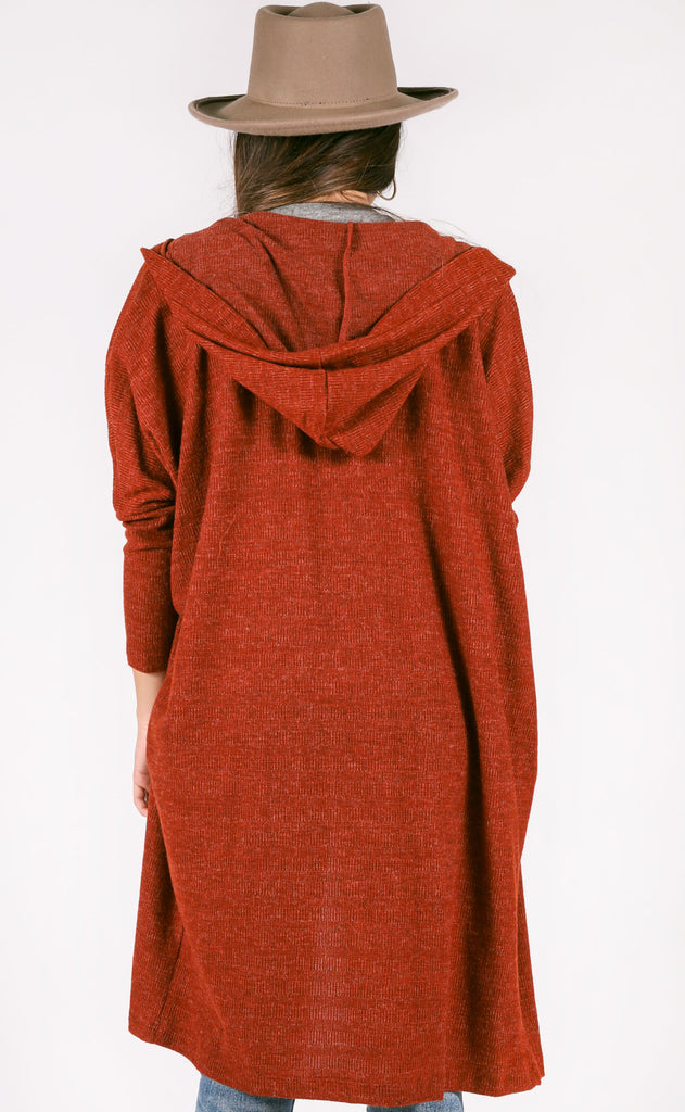 time to relax oversized cardigan - burgundy