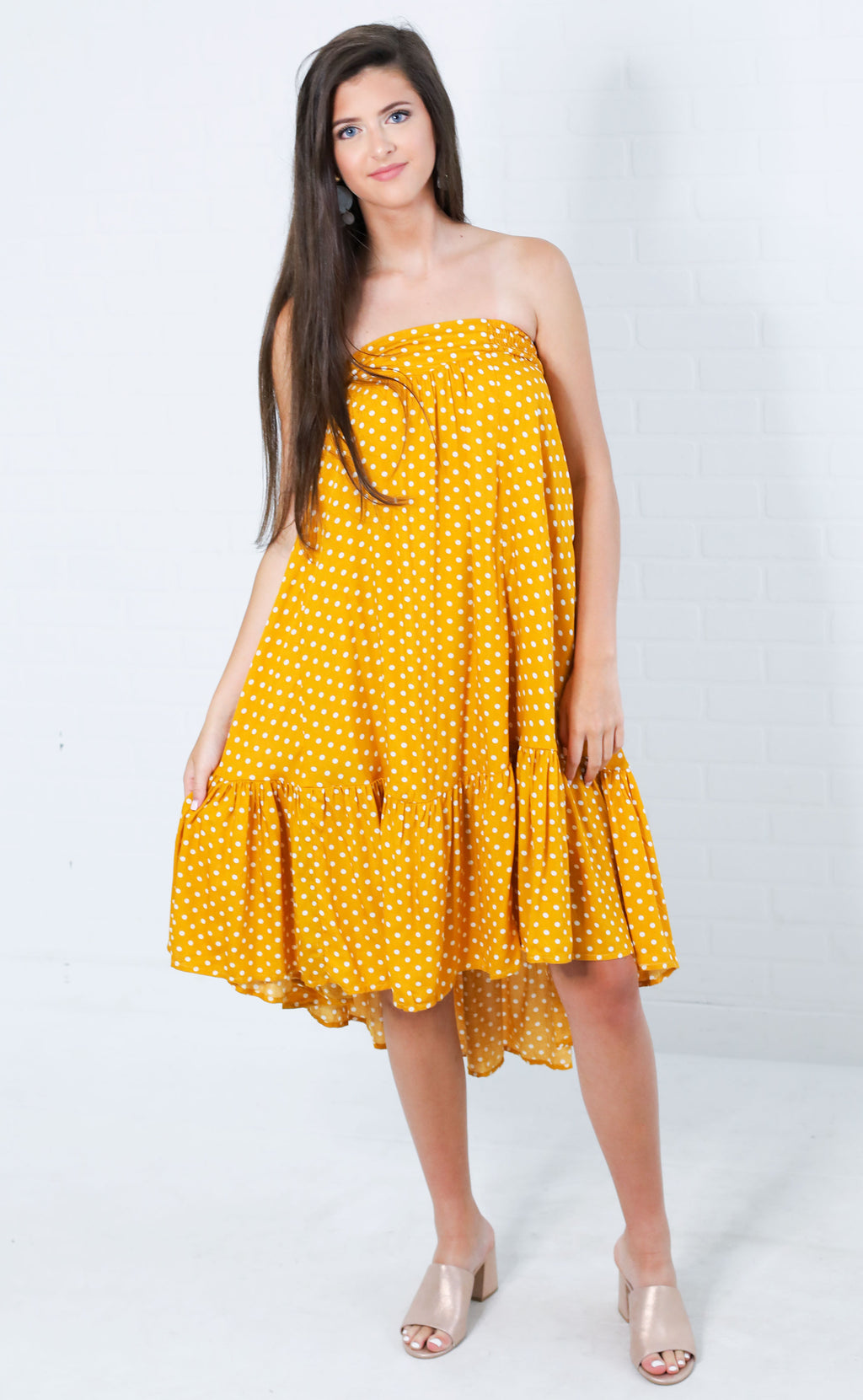 time to twirl strapless dress - mustard