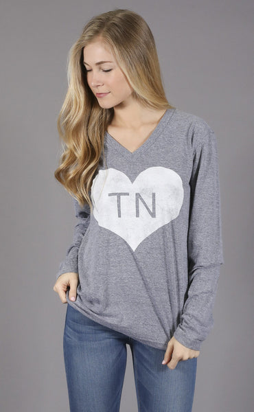 charlie southern: vintage heart long sleeve t shirt - tennessee