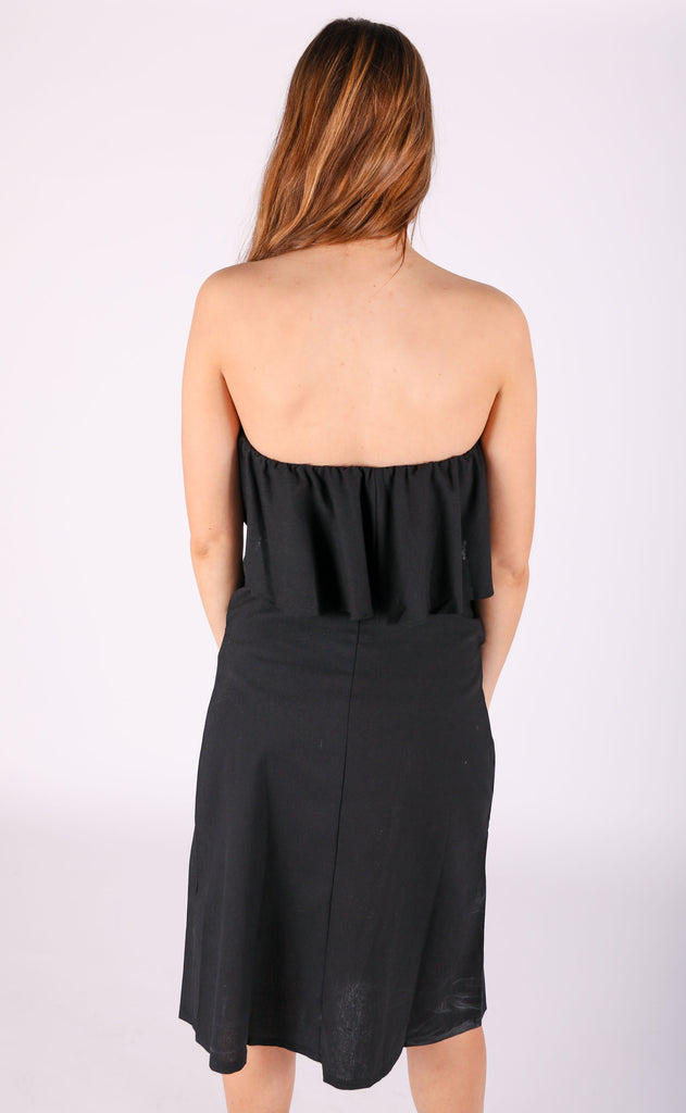 to the max strapless midi dress