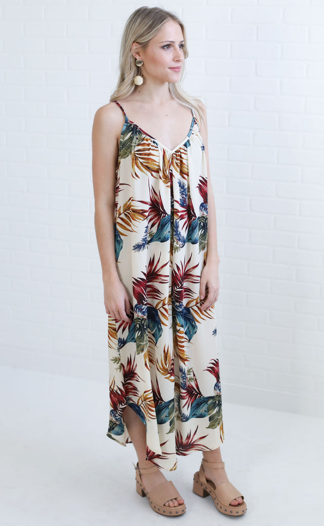 to the tropics printed jumpsuit