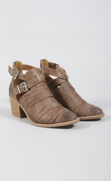 per-suede me distressed buckle booties - taupe