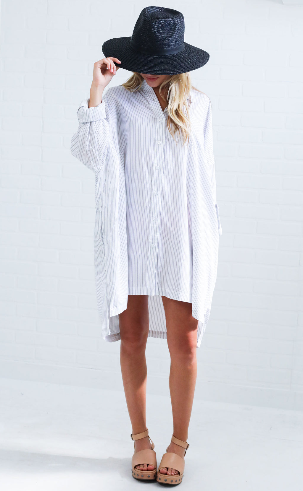 tomgirl striped tunic - white