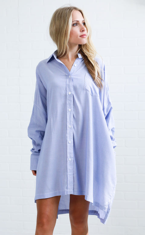 tomgirl striped tunic - blue