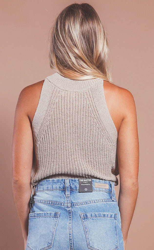 woven ways knit tank- brown