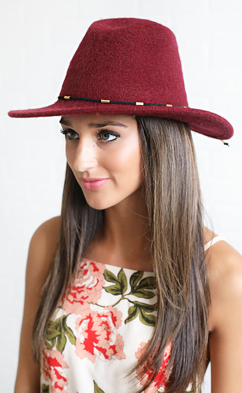 top it off felt hat - burgundy