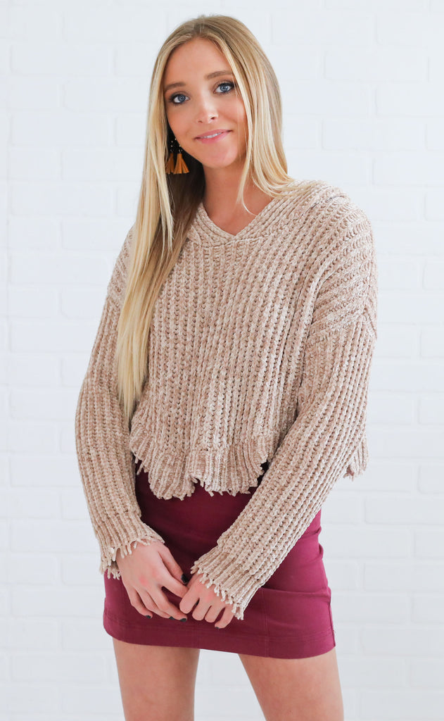 top notch crop sweater - taupe