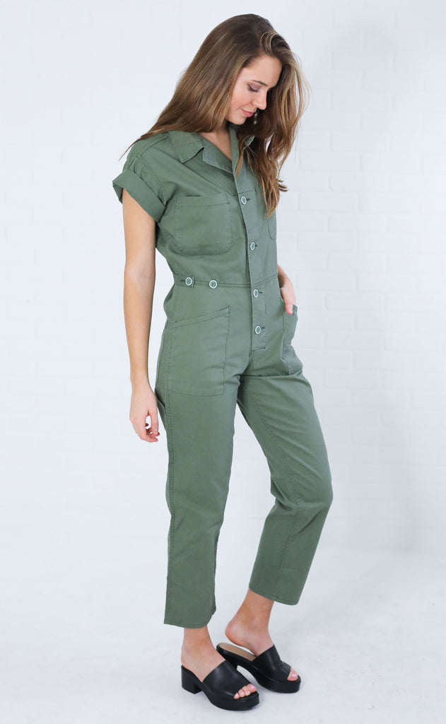 top gun button up jumpsuit