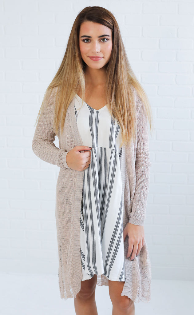 torn up distressed cardigan - taupe