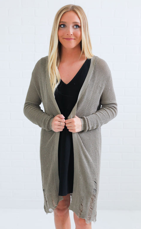 torn up distressed cardigan - olive
