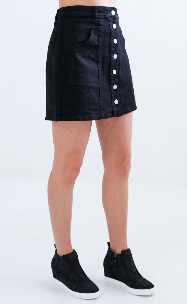 total flirt button up skirt - black