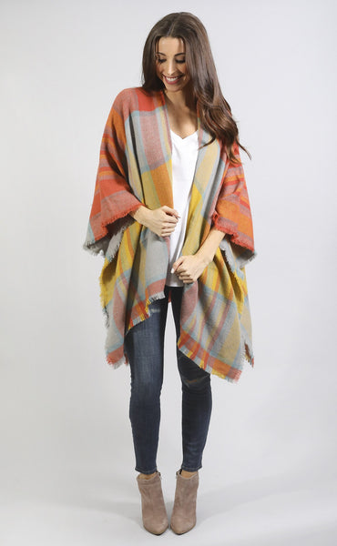 total plaid-ness kimono - orange