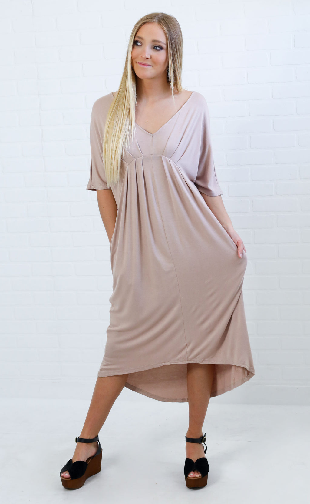 totally taupe midi dress
