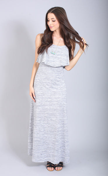 totally tri-blend ruffle maxi dress