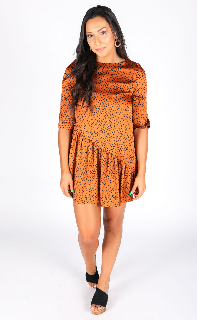 treat yourself spotted dress - rust