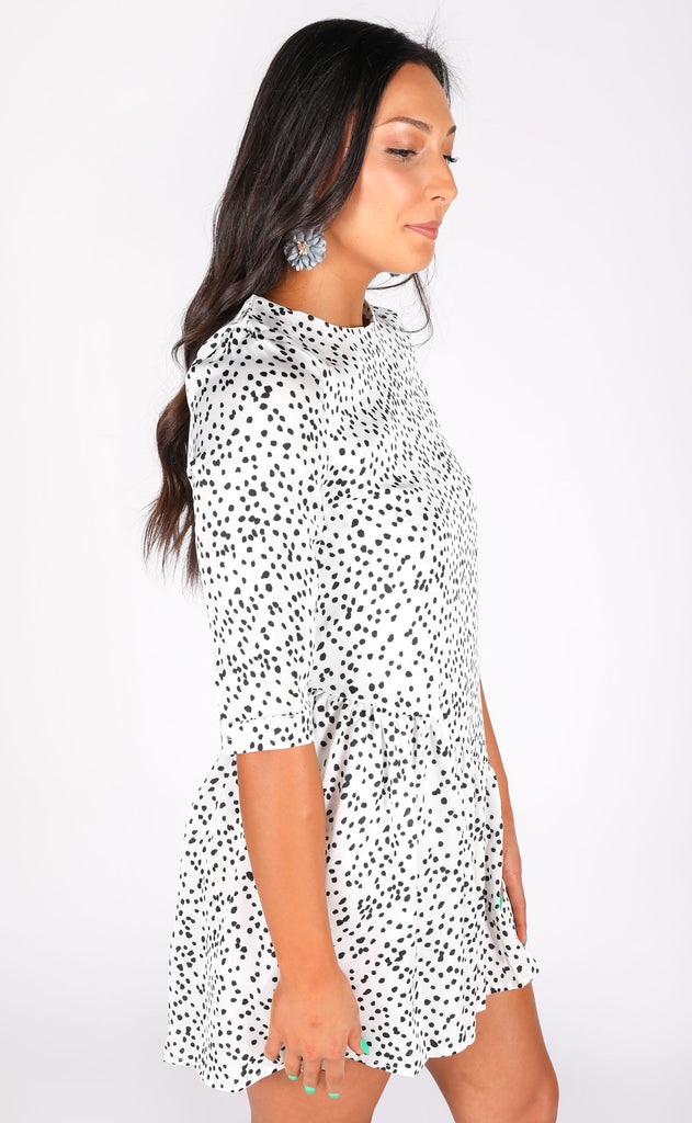 treat yourself spotted dress - ivory