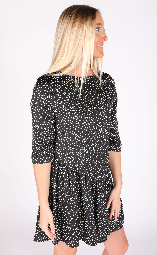 treat yourself spotted dress - black