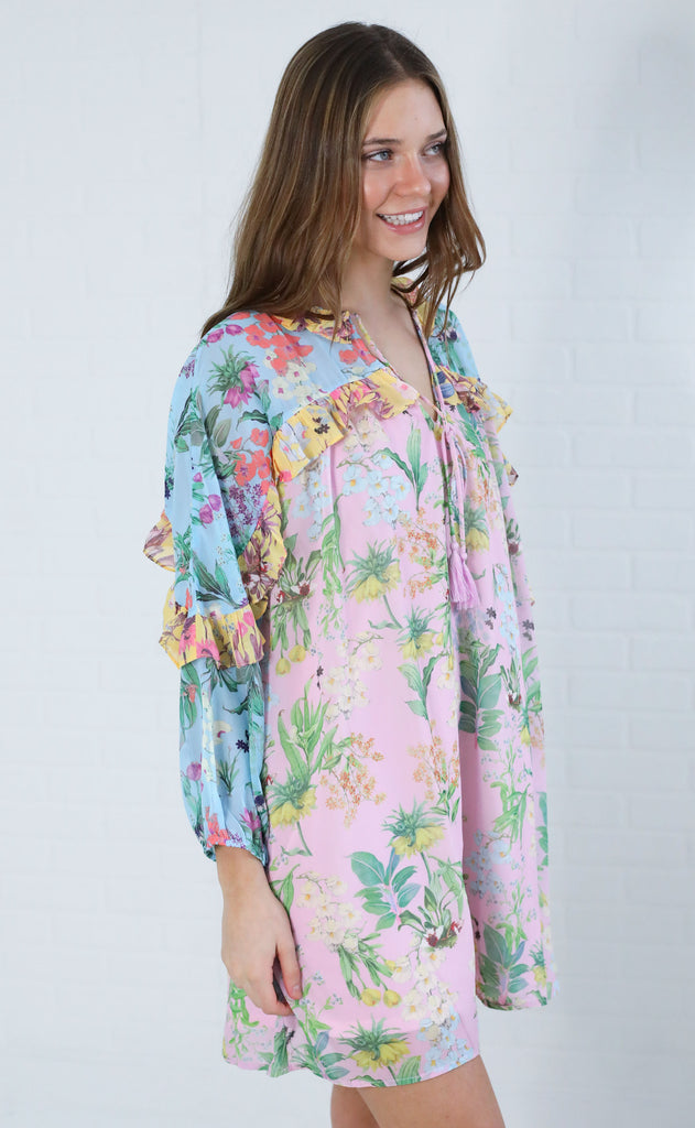 tropical escape floral dress - blue/pink