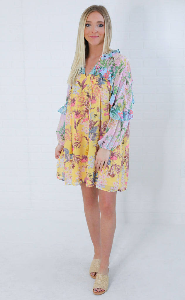tropical escape floral dress - pink/yellow