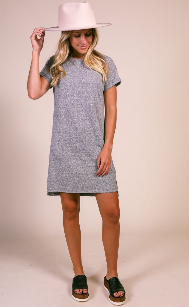 z supply: the triblend t-shirt dress - heather gray