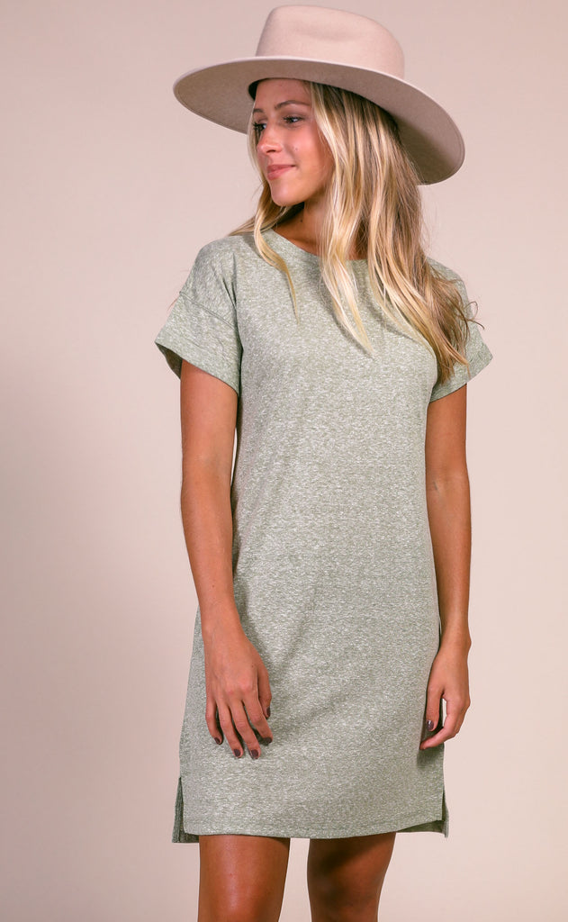z supply: the triblend t-shirt dress - olive