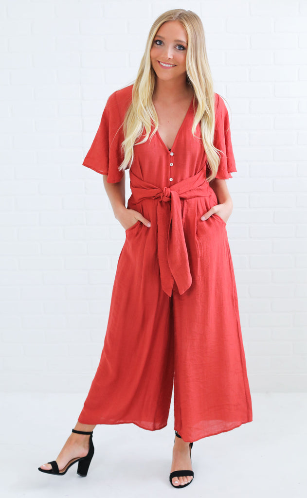 turn back time button up jumpsuit