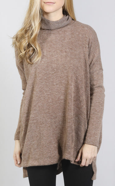 turn it up turtle neck tunic - mocha